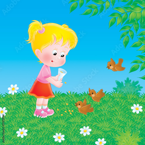 Poster Oiseaux, Abeilles Little girl feeds the birds