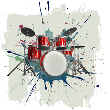 Drum Kit On Grunge Background