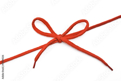 Fotografía  Red shoelace with bow
