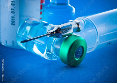 Photo Medical syringe and phials