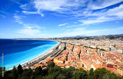 Poster Nice aerial view of beach in Nice