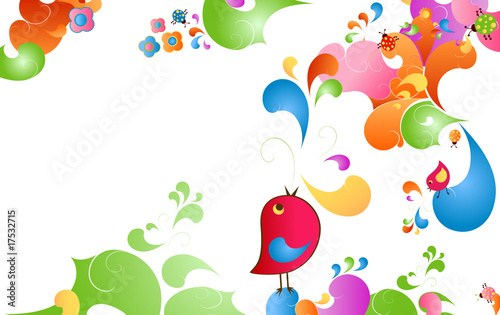 Poster Oiseaux, Abeilles summer