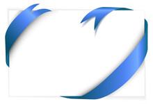 Blue Ribbon Around Blank White Paper