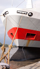Moored Ship Bow Showing Loading Guage And Anchor