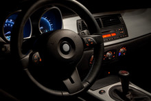 Sports Car Interior With Dramatic Nighttime Lighting