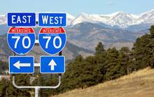 Interstate 70 Road Signs, Colorado.  Good Travel Background