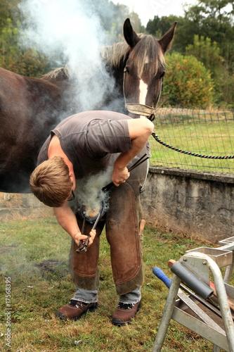 Fotografia, Obraz Maréchal ferrant posant un fer à cheval