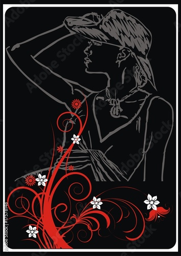Photo Stands Music Band abstract floral background