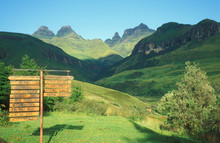 Signpost In The Drakensberg Mountains