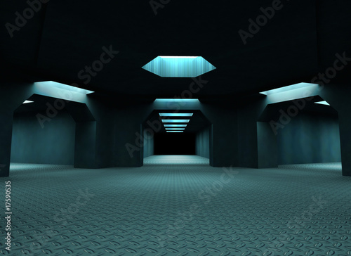 Dark mysterious tunnels. 3d illustration