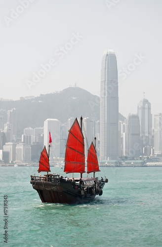 Photo  Hong Kong junk boat