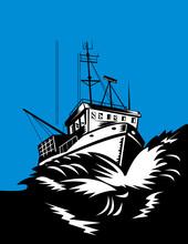 Fishing Boat Battling Huge Swe...