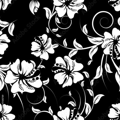 Staande foto Bloemen zwart wit seamless floral background