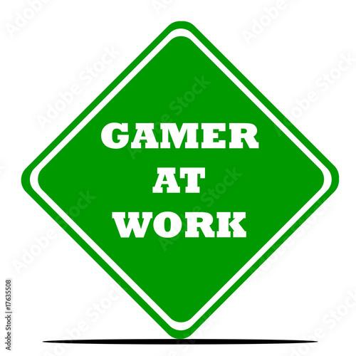 Fotomural Gamer at work sign