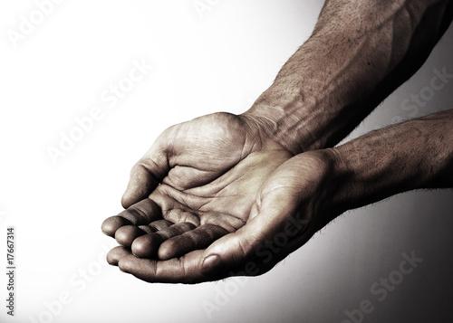 mains mendier aumône désespoir obscure Fototapet
