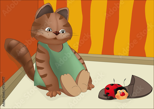 Canvas Prints Cats kitten and insect
