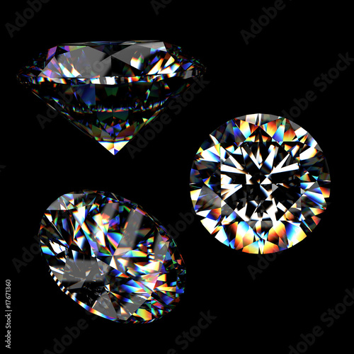 Tuinposter 3d Round brilliant cut diamond perspective isolated on black