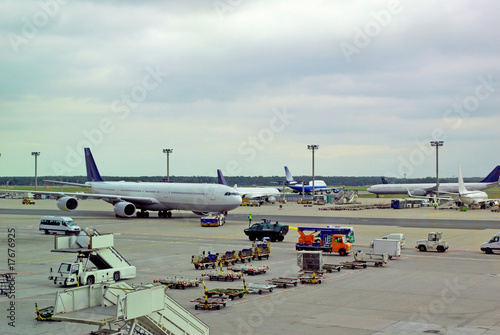 Foto op Aluminium Luchthaven Germany, airplane traffic at Frankfurt airport