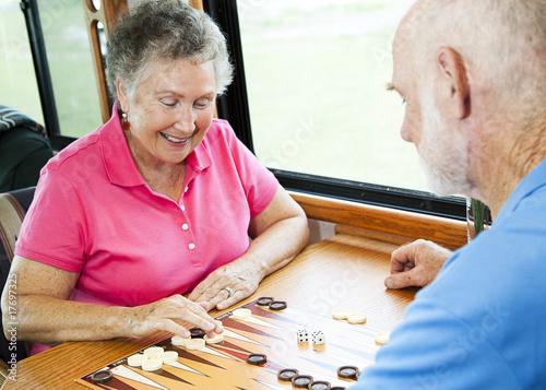 Fototapeta RV Seniors Play Board Game