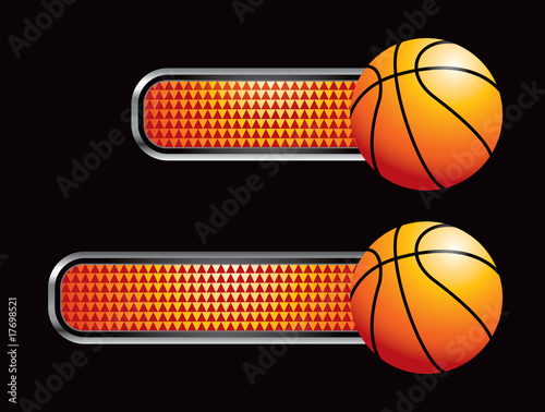 Basketball on orange checkered tabs Poster