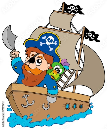 Tuinposter Piraten Pirate sailing on ship