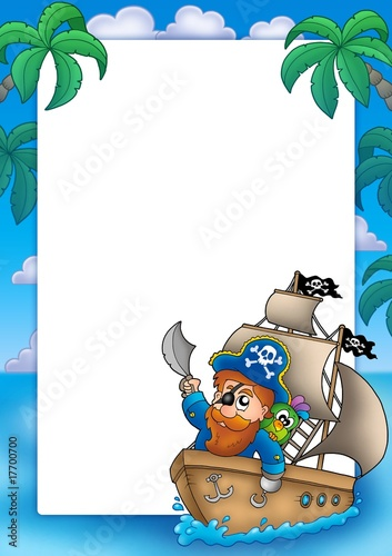 In de dag Piraten Frame with pirate sailing on ship