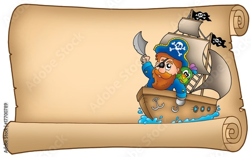 In de dag Piraten Old parchment with pirate sailing on ship