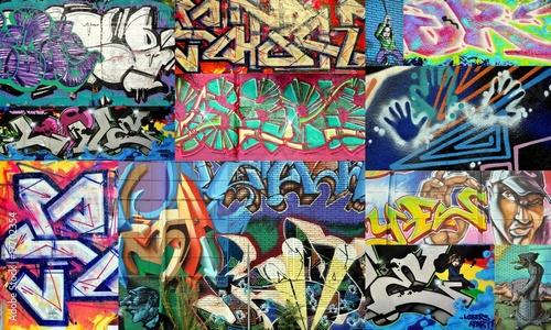 Deurstickers Graffiti collage tag et graffiti