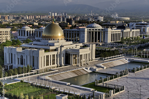 Photo General Views to the president palace. Ashkhabad. Turkmenistan.