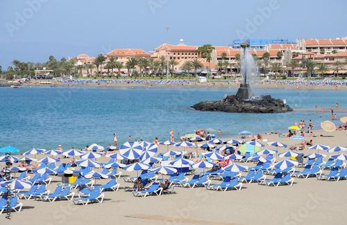 Playa de Las Vistas beach in Los Cristianos, Tenerife Spain Canvas Print