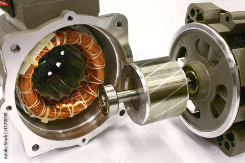 Photo  Opened AC Electric Motor.