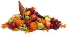 Fall Cornucopia On A White Bac...