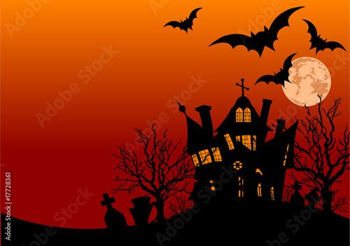 Printed kitchen splashbacks Fairytale World Halloween house flyer