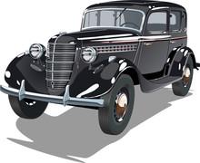 Vector Black Vintage Car