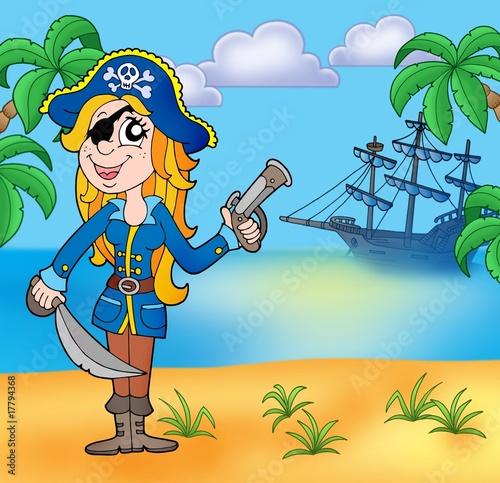 Photo sur Toile Pirates Pirate girl on beach 3