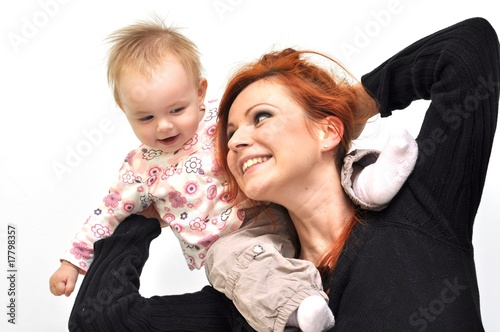 picture of happy mother with baby over white Tableau sur Toile