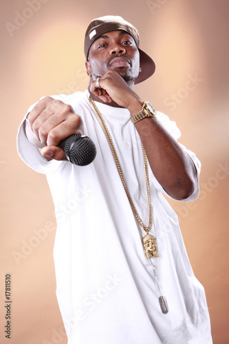 Fotografie, Obraz  Rapper attitude of a young African American