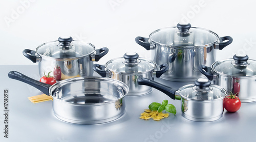 Fotomural  Stainless steel pots and pans