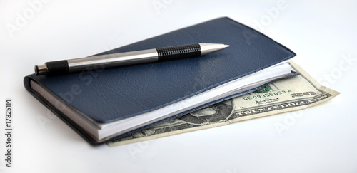 Check Book With Pen And Money
