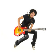 Young Guitarist Jumping Isolated