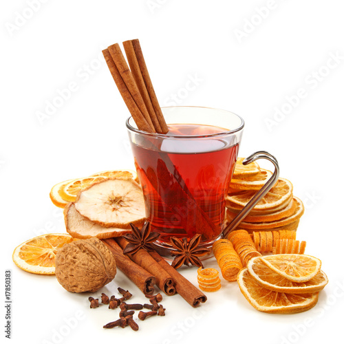 Winter hot drink with spices isolated on white background #17850383