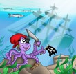 Pirate octopus near ship underwater