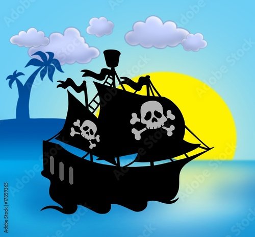 Photo sur Toile Pirates Sunset with pirate ship silhouette