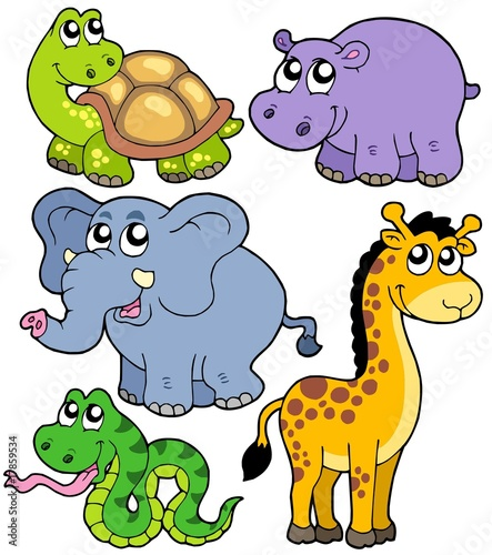 Deurstickers Zoo African animals collection 4