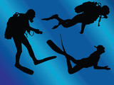 scuba divers with background - vector