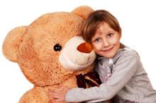 Little Girl With Big Teddy Bear