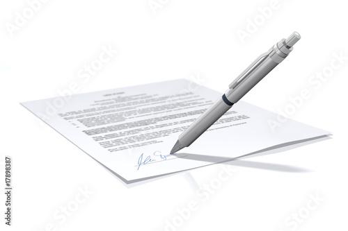 Fotografia Unterschrift - Vertrag