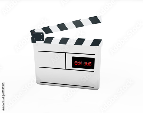 White clap board 3D digital time code