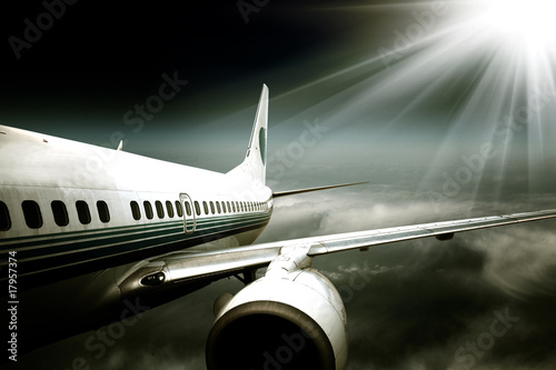 the airplane with the blue sky background