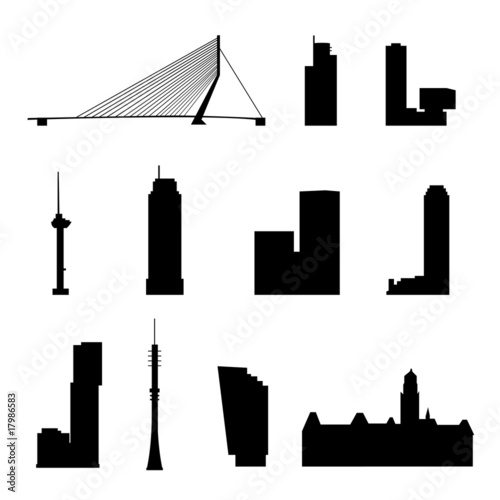 Deurstickers Rotterdam rotterdam landmarks isolated
